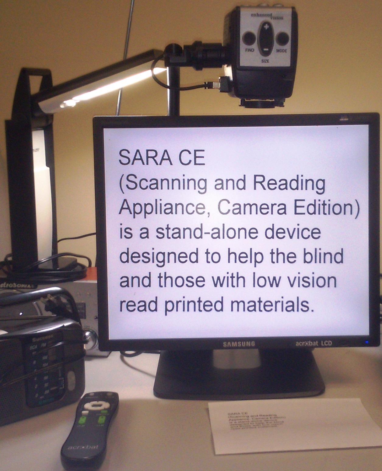 SARA CE scanning and reading appliance, camera edition